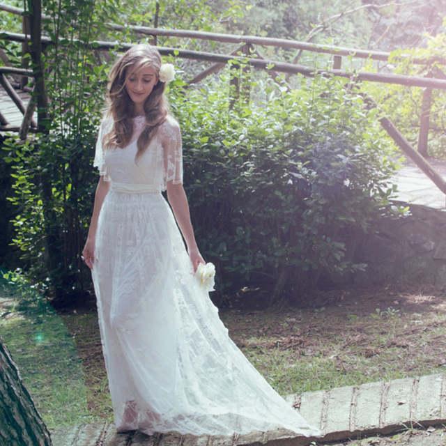Beach 2017 Plus Size Bohemian Wedding Dresses Appliqued A Line Half Sleeve  Vintage Boho Lace Bridal Gowns Vestidos De Noiva