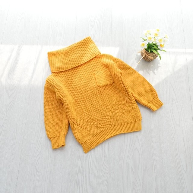 Baby solid pure yellow green grey black Sweater Children Kids Turtleneck Knit Loose Tops