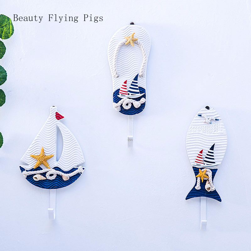 Mediterranean slippers <font><b>seabird</b></font> sailing blue and white single hanging <font><b>wooden</b></font> iron super weight bearing decorative hook coat hook image