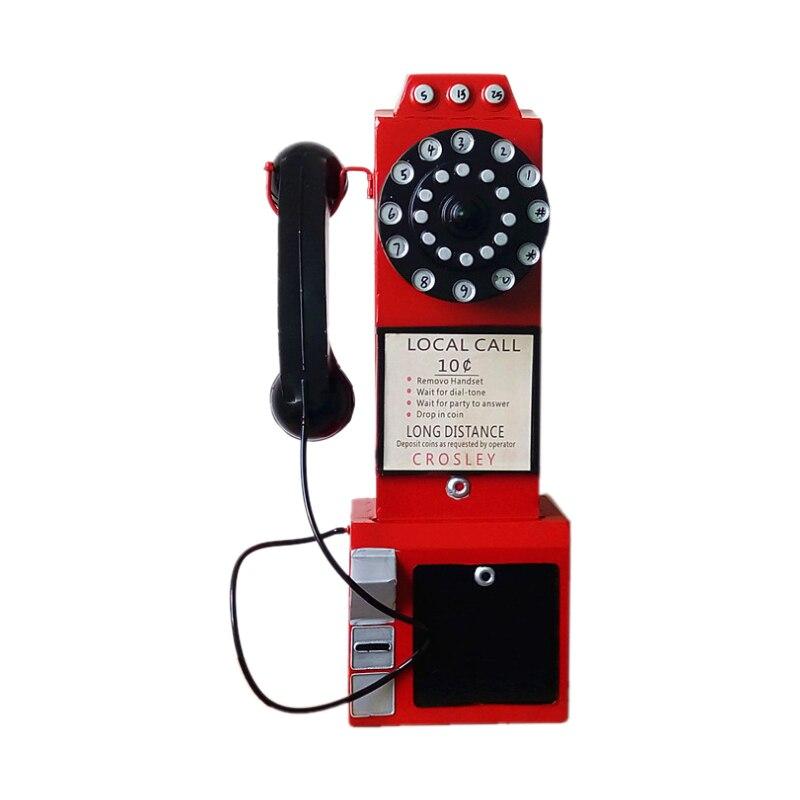 Nuevo Viejo hierro antiguo modelo de teléfono ornamentos europeo Retro teléfono miniatura decoración para el hogar Decoración de pared artesanías regalos-in Figuras y miniaturas from Hogar y Mascotas    1