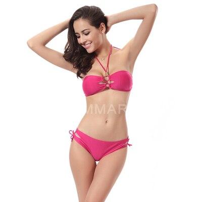 2016 New low waist bikini underwire push up bikini bandage low waist swimsuit cut out swimwear halter bathing suits DM061