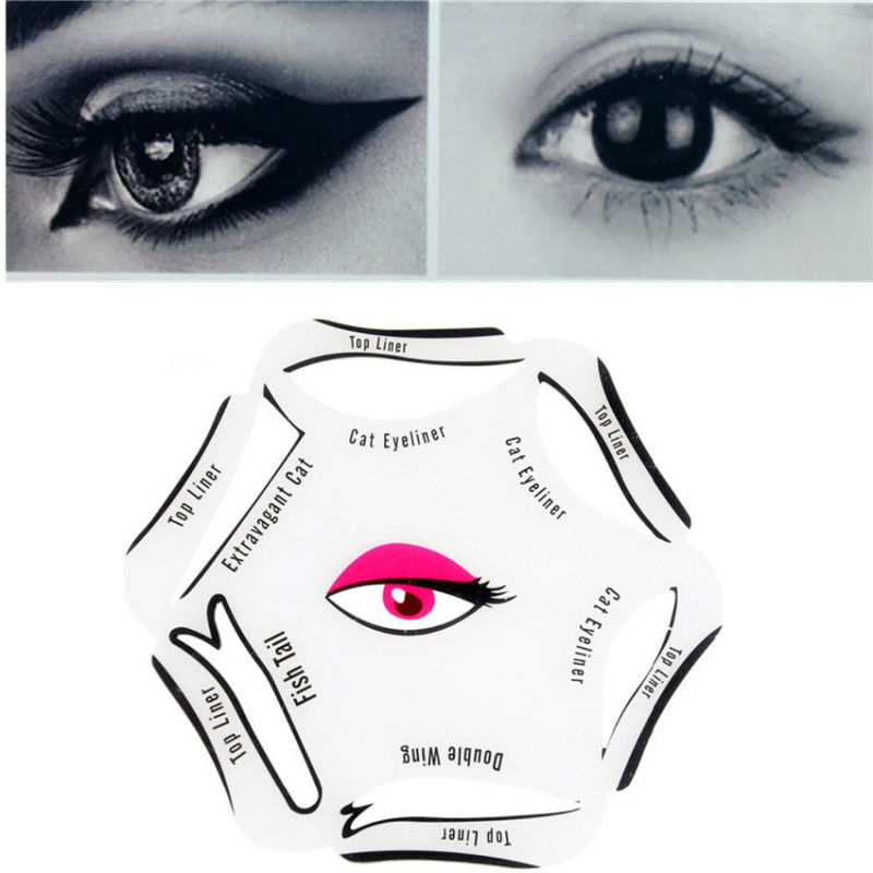 1 PCS 6 In 1 Stencils Eyeliner Template Smoky Makeup Guide Cat Eye Liner Quick Tool BO