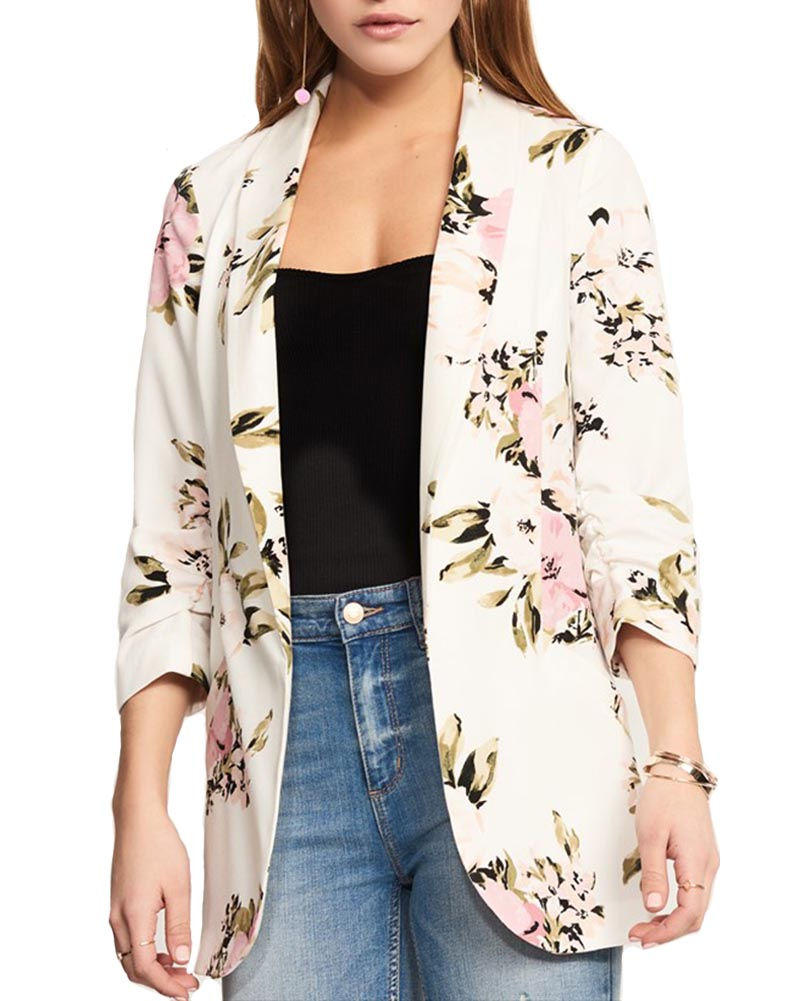 Hitmebox 2018 Autumn Spring Newly Women's Fashion Floral Printed Casual Office Lady Blazer Suits Vintage Cardigan Jacket Pocket