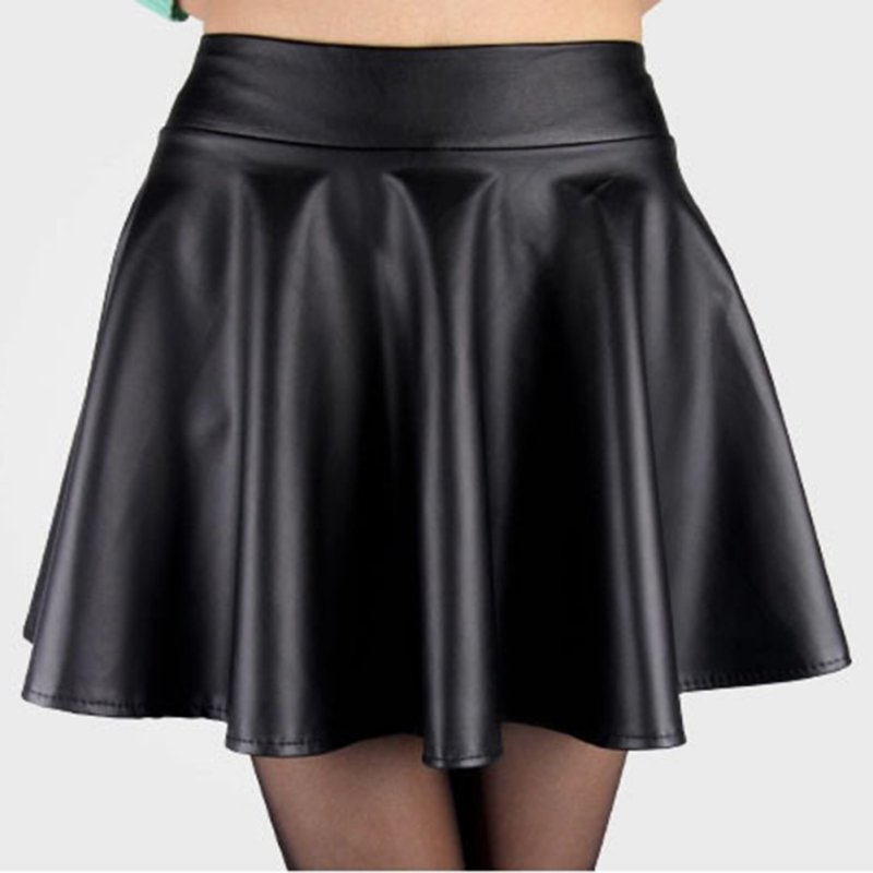 Skirts: New Women Ladies Faux Leather High Waist Skater Flared Pleated Short Mini Skirt