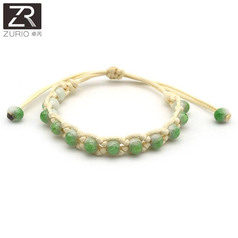 Zurio Fashion Classic Jewelry Ceramic Bracelets Green Color Beads Handmade Accessories Traveling Memento Souvenir Wholesale