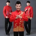 mens embroidery chinese dragon style clothing tops jacket red marry dress cotton traditional