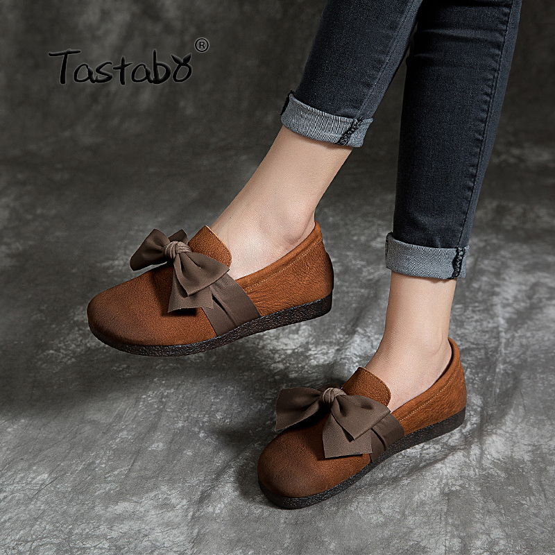 Tastabo 2019 new women s shoes Bow decorative upper Comfortable Oxford soft bottom Flat shoes Casual