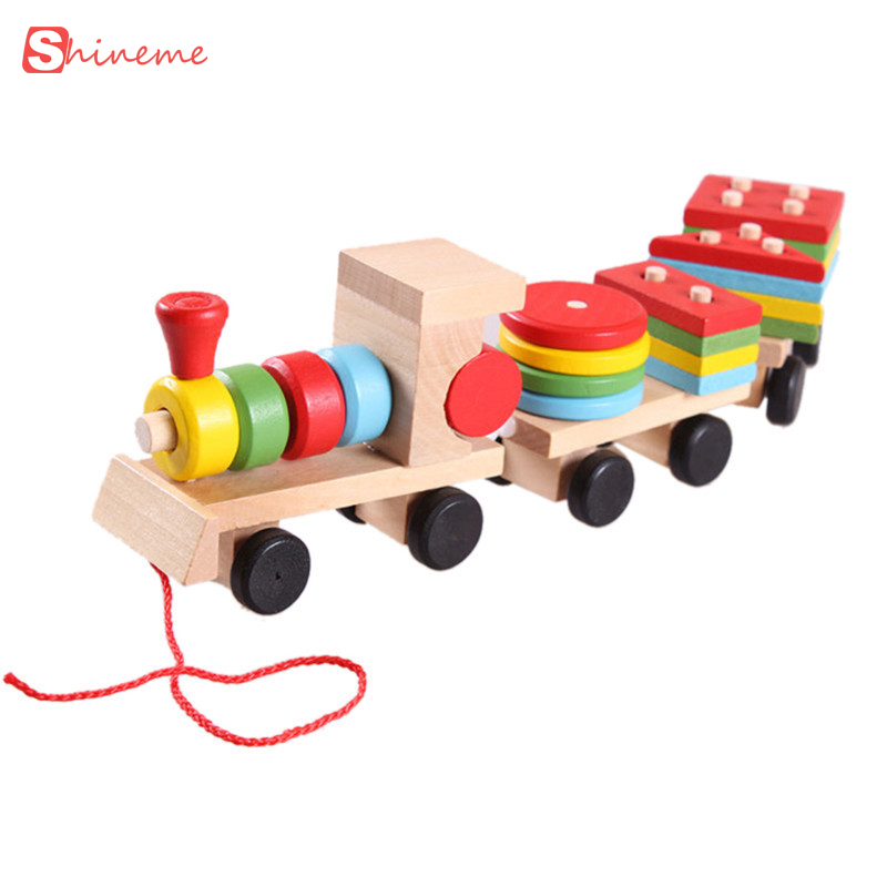 Blocks Baby Toys Wooden Trailer Train Building Blocks Geometry Colour Congnitive Blocks Children Kids Early Educational Assemble Toys Beautiful In Colour Toys & Hobbies