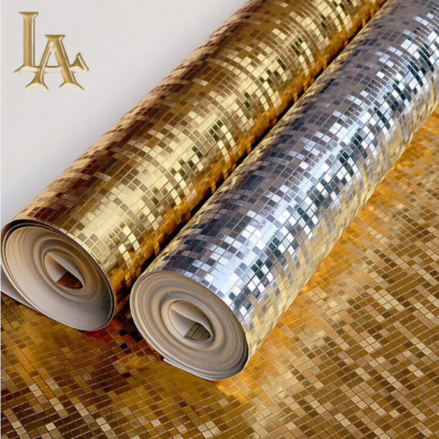 High quality Modern Luxury Gold Foil Plaid Mosaic Vinyl Wallpaper Roll Gold Silver Metallic Textured PVC Wall paper W117 090601 090603 luxury shiny 3d gold foil wallpapers pvc metallic wallpaper for livingroom abstract modern design wall paper roll