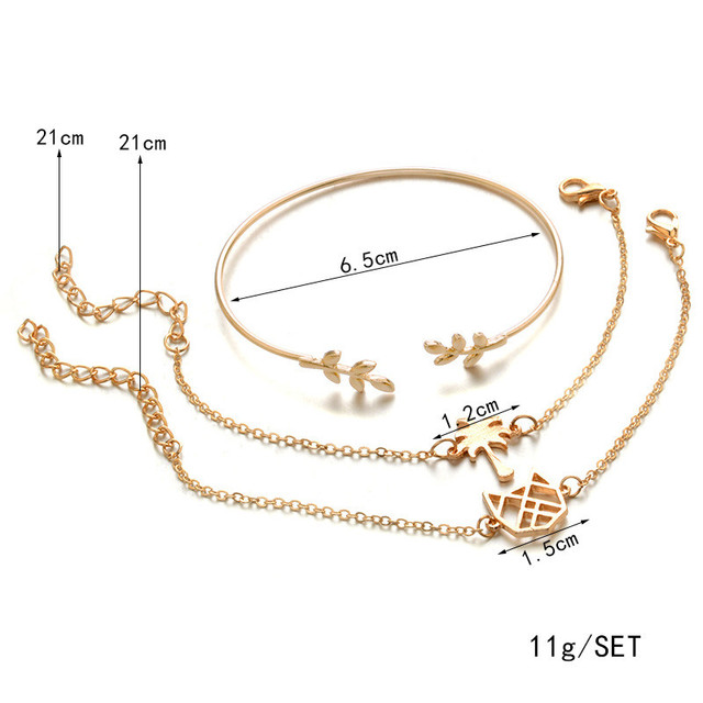 Chain Bracelets with Cats 3 pcs Set