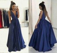 Глубокий v образный вырез темно синее платье для выпускного вечера Вечернее платье для вечеринки свадебное Гость формальное платье на зака