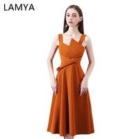 LAMYA Women Vintage Satin Prom Dress 2019 Newest A Line Evening Party Dresses Knee Length Vestidos De Festa In Stock