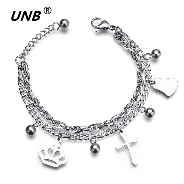 83f5df0c35 US $3.46 35% OFF|Cross Charms Bracelets Children's jewelry Chain Bracelets  Women Hearts Pendants Silver Crown Bracelet Wholesale-in Charm Bracelets ...