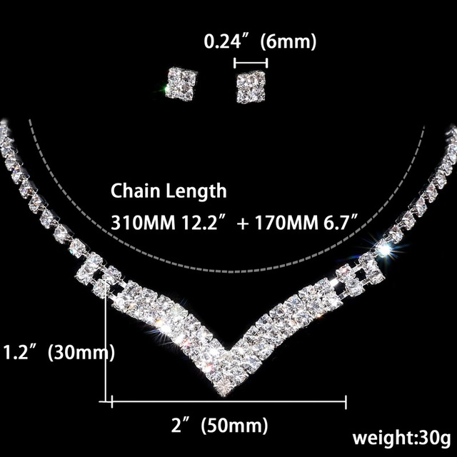 Beautiful Crystal Silver Wedding jewelry set for bride accessory v-neck v Necklace square stud Earrings Jewelry set For Women