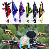 colorful scooter parts 8MM 10MM screw universal motorbike mirrors triangle Pitbike motorcycle rearview mirror moto accessories