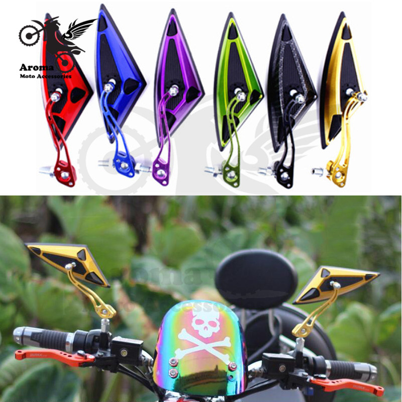 colorful scooter parts 8MM 10MM screw universal motorbike mirrors triangle Pitbike motorcycle rearview mirror moto accessories image