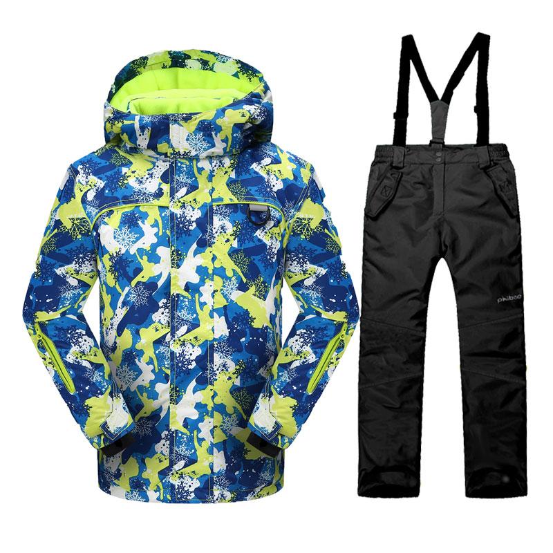 Phibee Korean Boys or Girls Ski Jacket and Pants Windproof Waterproof Kids Snowboarding Suit  Children Ski Suit -30 Degree phibee girls ski jacket windproof waterproof kids ski jacket 8015 free shipping
