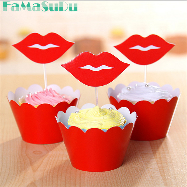 FaMaSuDu 48pcs Red Big Lips Cake Toppers Picks Baby Party Birthday Decorations Supplies Shower Cupcake