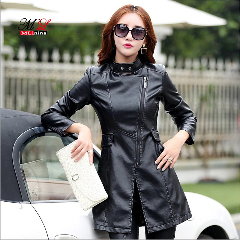 MLinina Autumn Winter Plus Size 5XL   Leather   Jacket Women Fashion Slim High Quality PU Motorcycle   Leather   Coat Long Jacket Female