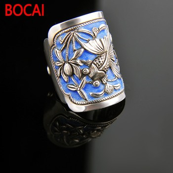 999Silver Ring Zuyin May there be surpluses every year. men and women couples opening Silver Ring enamel Shaolan ring
