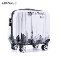 CHENGZHI 16Inch Cartoon Rolling Luggage Spinner Trolley Suitcase kids Carry Ons Travel Boarding Case Bag On Wheels