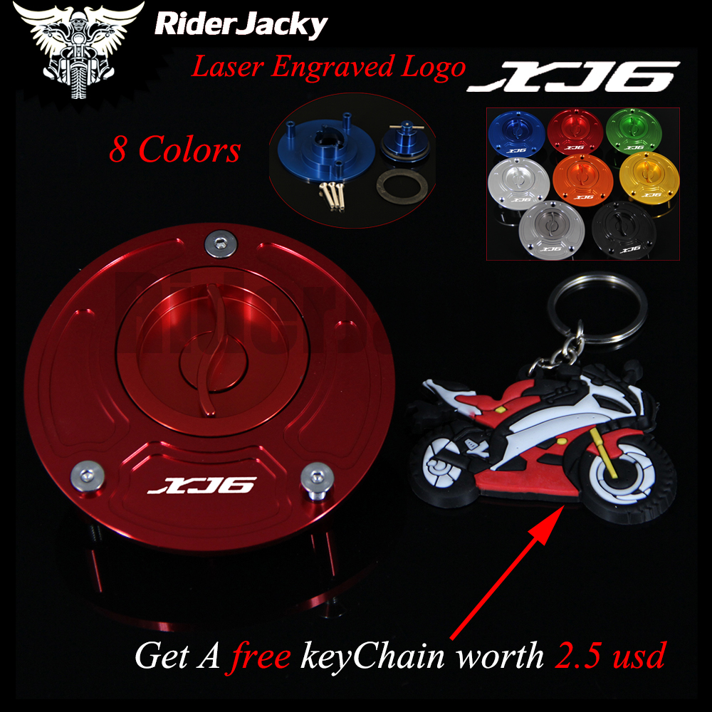 Red Motorcycle Keyless Laser Logo Motorcycle Gas Cap Fuel Tank Cap Cover For Yamaha XJ6 DIVERSION 2009-2015 2011 2012 2013 2014 mp022 universal diy motorcycle decorative fuel tank cap cover golden 2 pcs