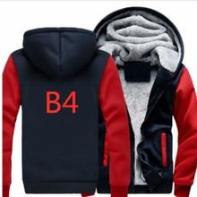 B4 для мужские Толстовки с капюшоном на молнии пальто Зимняя утепленная флисом Harajuku унисекс толстовки хлопковая куртка новая модная брендовая одежда с капюшоном