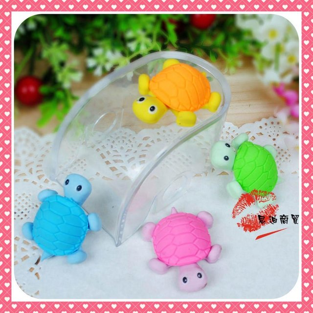 72 pc/lot Korean Style Student Stationary Cute Cartoon Eraser,Tortoise Pattern Eraser 4 Colors