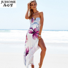 Plus Size Brand Sexy beach summer dress women milk silk sundress Vintage Boho Floral split long maxi robe femme vestido de festa
