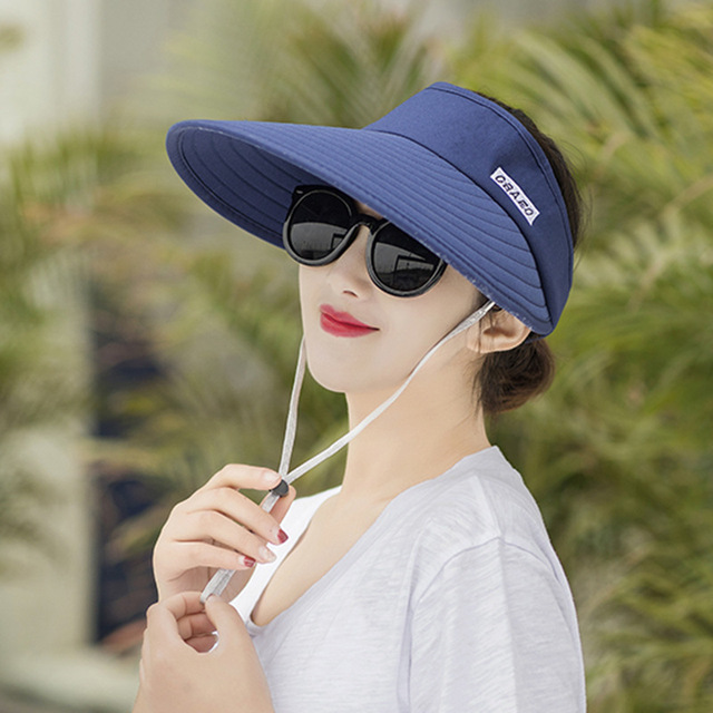 408d41215d1 Fashion Visors Women Foldable Sun Hat Summer Empty Top Hats Wide Brim With  Outdoor Travel UV