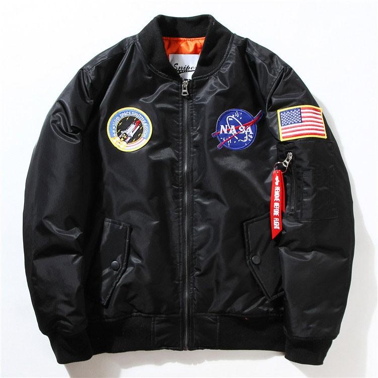 Men Bomber Jackets Flight Pilot Jacket Coat Nasa Air Force Embroidery Baseball Uniform Military Style Coats Army Green Black (7)