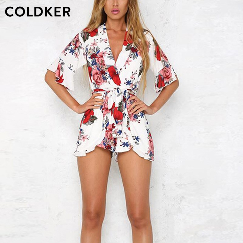 Floral Print Chiffon Playsuit Women 2018 Summer Sexy V Neck Sashes Boho Rompers White Black Jumpsuit Beach Party Overalls