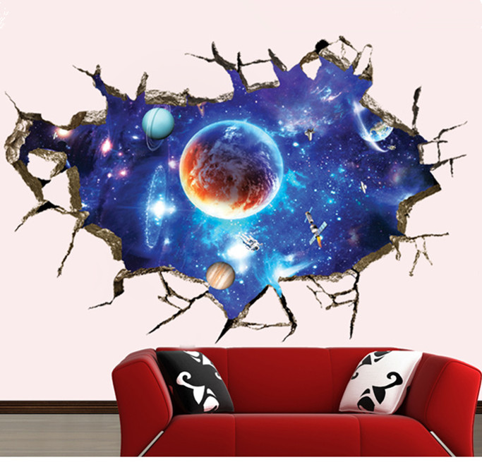 hot sell 3D Planet Outer Space Wall Stickers Home Door Kids Room Art Christmas Decor S