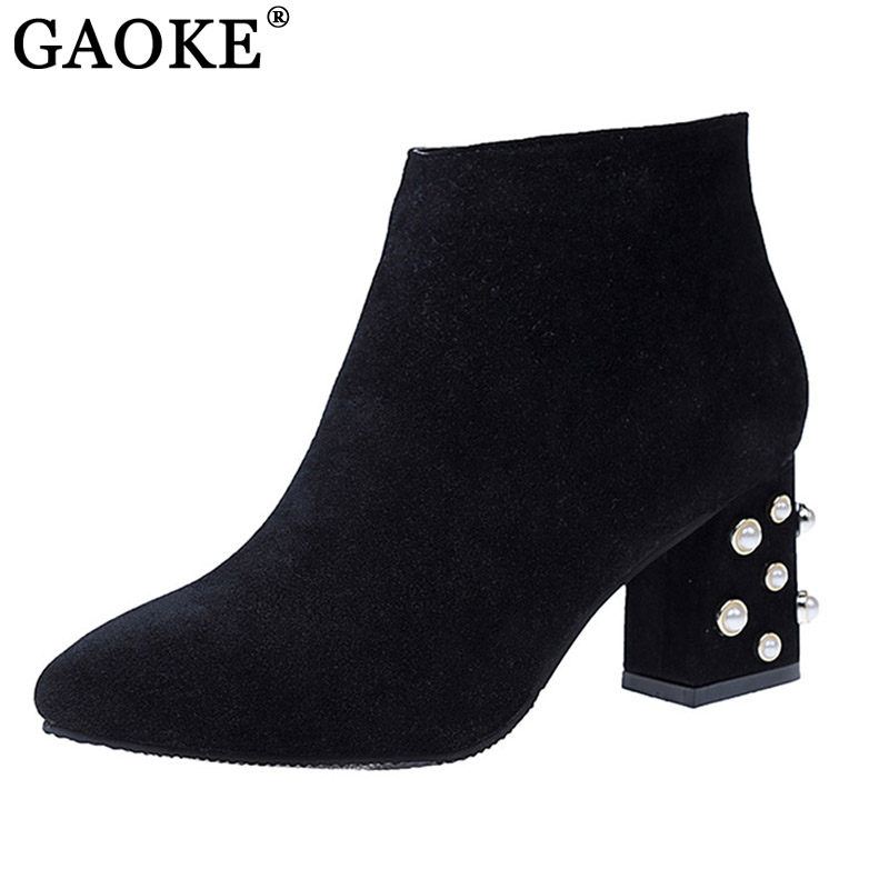 Brand Designer Pearl Ankle Boots Sexy High Heel Women's Winter Boots Side Zipper Shoes Woman Square Toe Female Shoes 2017 woman platform square high heel buckle ankle boots fashion round toe side zipper dress winter boots black brown gray white