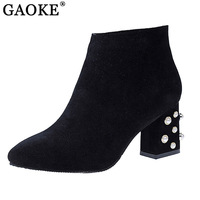 Brand Designer Pearl Ankle Boots Sexy High Heel Women S Winter Boots Side Zipper Shoes Woman