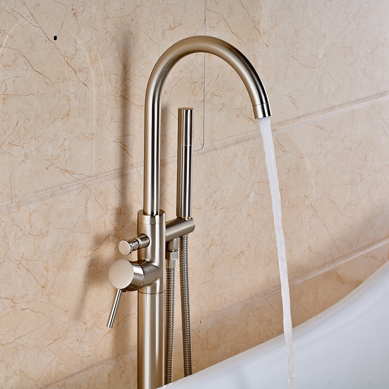 Floor Mounted Solid Brass Single Handle Bathroom Tub Faucet + ...