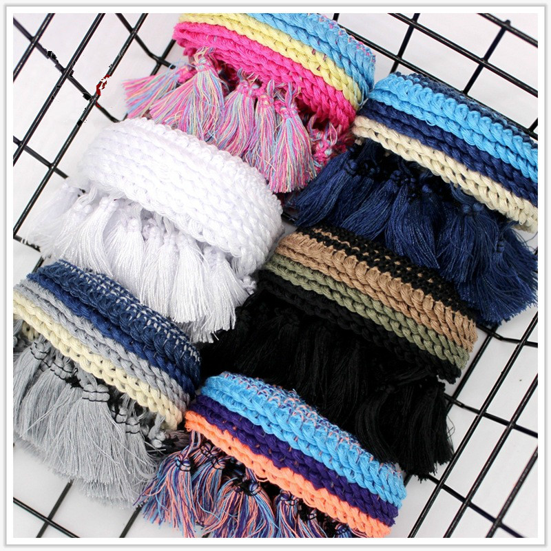 5 Yards/Lot Lace Ribbon Tassel Fringe Pom Pom Trim Cotton Ethnic Pompon Braid For Home Decoration Fabric Trim DIY Sewing Curtain