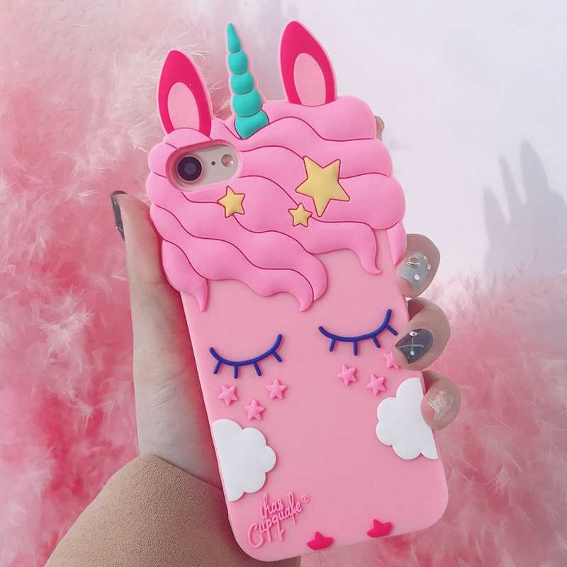 low priced ba88e 7b322 For iPhone 5S SE Unicorn Phone Cases For iphone X 8 8plus 7 7plus 6 6S  6plus Cute Cartoon Horse Soft Back Case Cover Girl Case