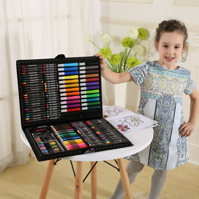 DINGYI 168 PCS Kids Gift Wooden Colored Pencil Wax Crayon and Oil Pastel Painting Brush Children Drawing Tools Set Art Supplies