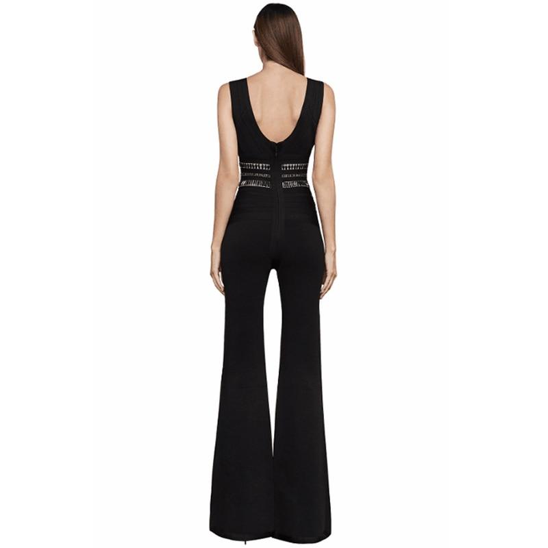 2017 Salopette Dos Célébrité De Gros Femmes Nu Moulante Longue Nouveau Jupmsuits Bandage Mode Patchwork Métal En Élégant Noir Sexy r7raYq