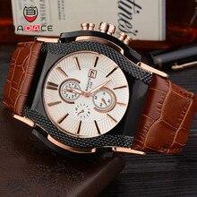 BADACE Роскошные брендовые кварцевые часы для мужчин s Дата дисплей часы для мужчин часы кожаный ремешок спортивные наручные часы Relogio Masculino 2188
