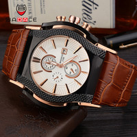 Badace Luxury Top Brand Quartz Watches Men S Date Display Square Dial Genuine Leather Strap