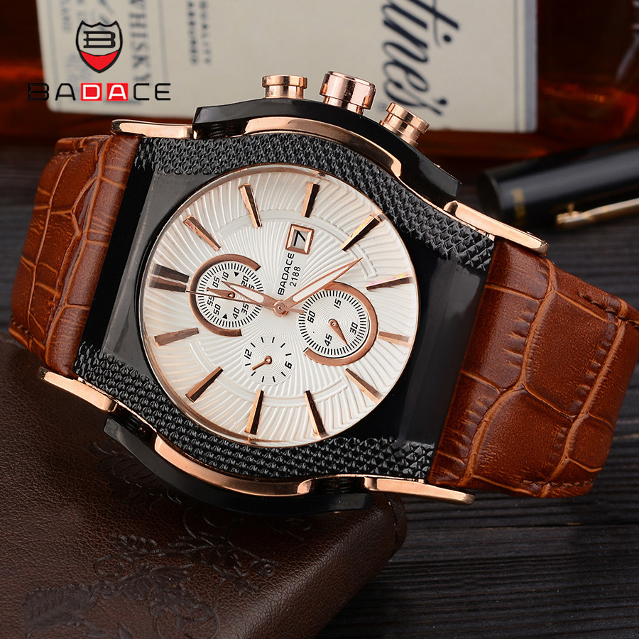 BADACE Luxury Top Brand Quartz Watches Mens Date Display Watch Men Hours Leather Strap Sport WristWatch Relogio Masculino 2188 oulm mens designer watches luxury watch male quartz watch 3 small dials leather strap wristwatch relogio masculino