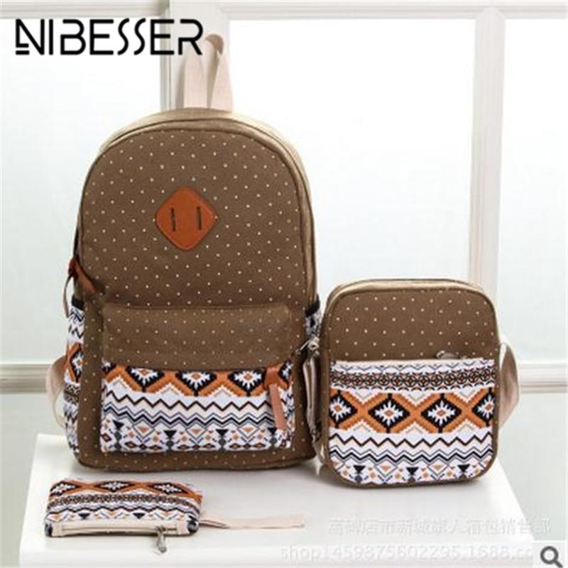 Nibesser National Canvas Printing Backpack Women Notebook Backpack Set Lightweight Bookbags School Backpack For Girls Bag School
