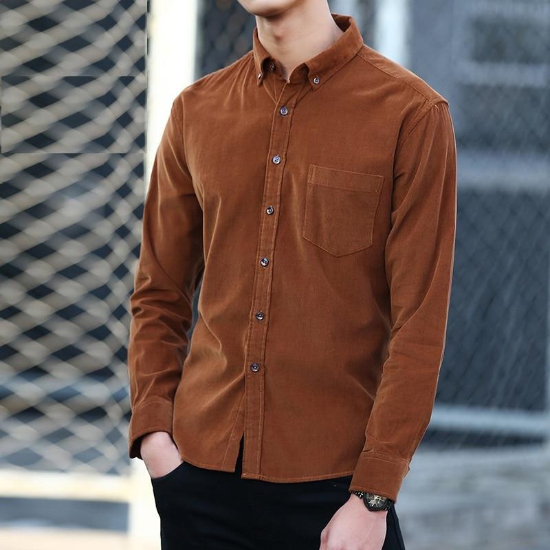 100% Cotton Vintage Corduroy Dress Shirt Men Slim Fit New Casual Shirts Mens Brand Long Sleeve Clothes Camisa Hombre TS-381 1