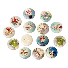 100Pcs Mixed Christmas Theme Pattern Wooden 2 Holes Buttons Wood Round  Sewing Scrapbook 15mm