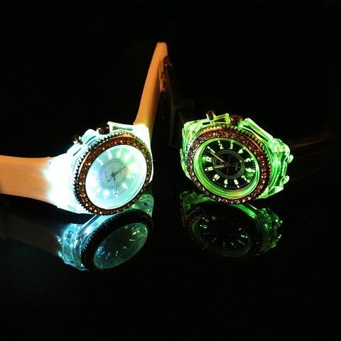 LED Light Flash Luminous Watches Women Men Boys Girls Silicone Wrist Watch Fashion Rhinestone Clock Kids Children Relogio Saati Karachi