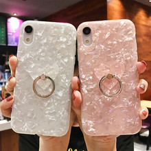 Shell Phone Case For iPhone X 7 8 Luxury Cover Skin 6 6s Plus Glitter Heart Finger Ring Fitted Cases