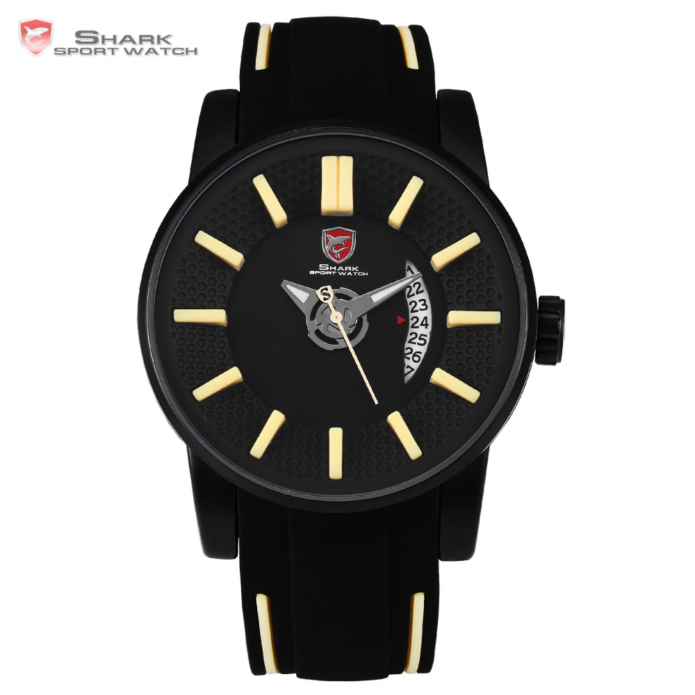 Grey Reef Shark Sport Watch 2017 NEW Luxury Brand Men Date Khaki Analog Quartz Clock Army Military Silicone Wrist Watch / SH480 splendid brand new boys girls students time clock electronic digital lcd wrist sport watch