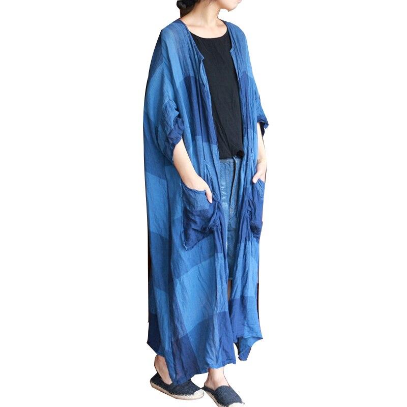 Cardigan rouge Vérifié Taille Blouse Printemps Cardigans Plus Plaid Longue Été Bleu Chemise Chemisier Lâche Femmes La Vintage IUwIqCa